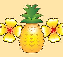 Tropical pineapple with two hibiscus Hawaiian flowers by jazzydevil