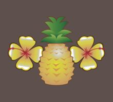 Tropical pineapple with two hibiscus Hawaiian flowers Baby Tee