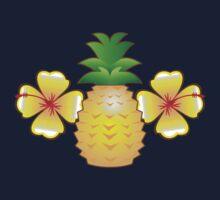 Tropical pineapple with two hibiscus Hawaiian flowers One Piece - Long Sleeve