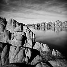 Watson Lake in Black and White by Bob Larson