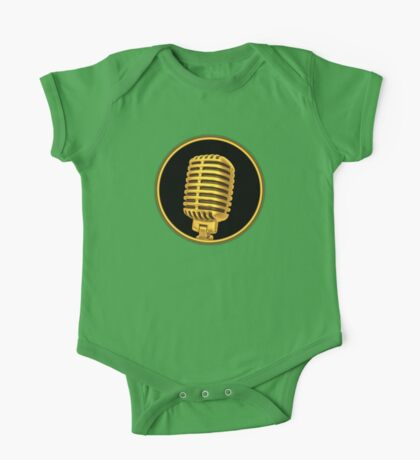 Vintage Gold Microphone Sign One Piece - Short Sleeve