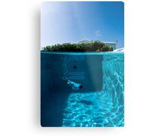 Diving the Hotel Pool Metal Print