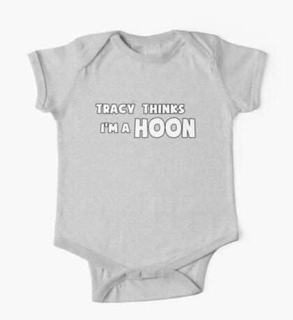 'Tracy Thinks I'm a Hoon' - ACA Tracy Grimshaw Gag sticker / Tee - White One Piece - Short Sleeve