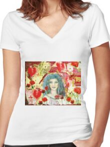 The healing smile Women's Fitted V-Neck T-Shirt