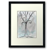 Gothic Tree - ACEO Pen & Ink Watercolor Painting Framed Print