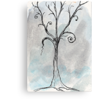 Gothic Tree - ACEO Pen & Ink Watercolor Painting Canvas Print
