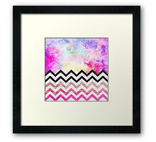 Watercolor nebula space pink ombre wood chevron  Framed Print