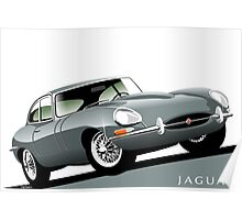 E-Type Jaguar Series 1 Coupe silver Poster