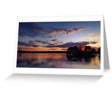 English Lakeside Sunset - Caldecotte, Buckinghamshire Greeting Card
