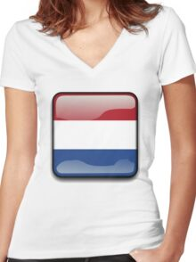 Netherlands Flag, Icon Women's Fitted V-Neck T-Shirt