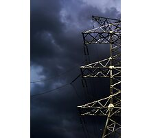 Power line against a stormy sky Photographic Print