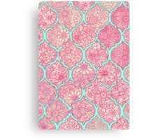 Moroccan Floral Lattice Arrangement - pink Canvas Print