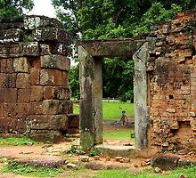 Door Frame in Angkor Thom II - Cambodia. by Tiffany Lenoir