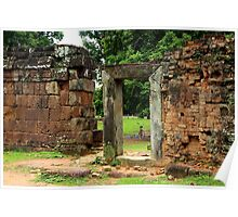 Door Frame in Angkor Thom II - Cambodia. Poster