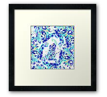Bright blue turquoise gold elegant peacock pattern Framed Print