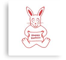 Cute Bunny Happy Easter Drawing in Red ans White Colors Canvas Print