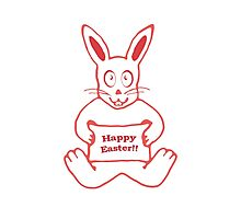 Cute Bunny Happy Easter Drawing in Red ans White Colors Photographic Print