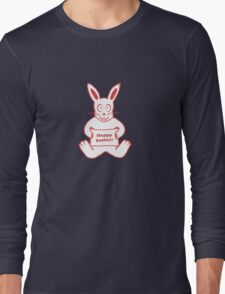 Cute Bunny Happy Easter Drawing in Red ans White Colors Long Sleeve T-Shirt