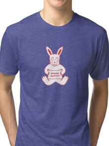 Cute Bunny Happy Easter Drawing in Red ans White Colors Tri-blend T-Shirt
