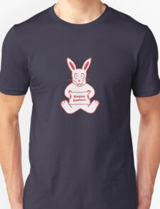 Cute Bunny Happy Easter Drawing in Red ans White Colors T-Shirt