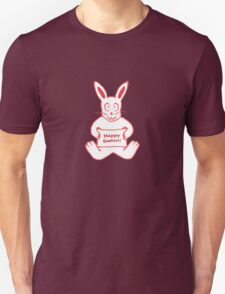 Cute Bunny Happy Easter Drawing in Red ans White Colors Unisex T-Shirt
