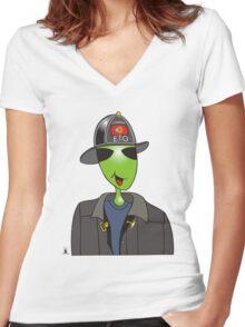 alien fireman Women's Fitted V-Neck T-Shirt