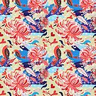 floral pattern with birds in love by Tanor