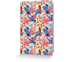 floral pattern with birds in love Greeting Card