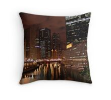ChicagoLand river @ night Throw Pillow