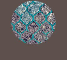 Moroccan Floral Lattice Arrangement - teal  Womens Fitted T-Shirt