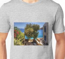 A shaded patio in Nimborio Unisex T-Shirt