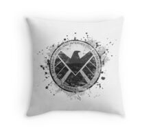 S.H.I.E.L.D Emblem (in gray with white background) Throw Pillow