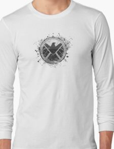S.H.I.E.L.D Emblem (in gray with white background) Long Sleeve T-Shirt