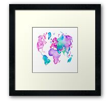 Modern world map globe bright watercolor paint Framed Print