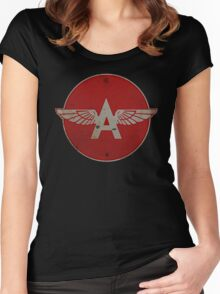 Flying A Gasoline Red Circle Rusty version Women's Fitted Scoop T-Shirt