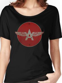 Flying A Gasoline Red Circle Rusty version Women's Relaxed Fit T-Shirt