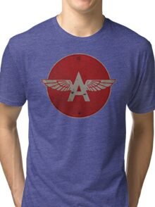 Flying A Gasoline Red Circle Rusty version Tri-blend T-Shirt