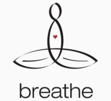 "Meditator with ""Breathe"" in simple text. One Piece - Long Sleeve"