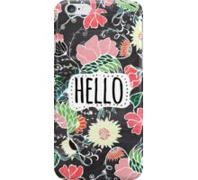 Pastel preppy flowers Hello typography chalkboard iPhone Case/Skin