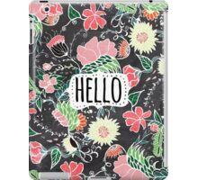 Pastel preppy flowers Hello typography chalkboard iPad Case/Skin