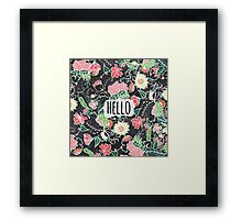 Pastel preppy flowers Hello typography chalkboard Framed Print