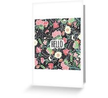 Pastel preppy flowers Hello typography chalkboard Greeting Card