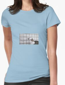 Cat drinking from a tap Womens Fitted T-Shirt