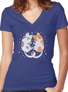 Kitty Cuddles Women's Fitted V-Neck T-Shirt