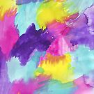 Watercolors Pink Blue Purple Yellow by ValeriesGallery