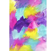 Watercolors Pink Blue Purple Yellow Photographic Print