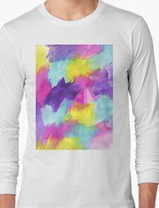 Watercolors Pink Blue Purple Yellow Long Sleeve T-Shirt
