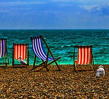 Deck Chairs and Gulls on the Beach at Brighton by Chris Lord