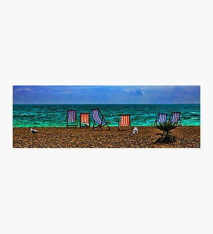 Deck Chairs and Gulls on the Beach at Brighton Photographic Print