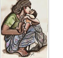 Mother  and Child by Veena  Gupta
